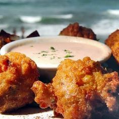 Conch Fritters with Caribbean Dipping Sauce Get The Recipe Here and Deep Fry at 365 degrees for 3 to 5 minutes when golden brown