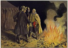 Frederick the Great talks to General Zieten in the Camp at Bunzelwitz before the battle of Burkersdorf.