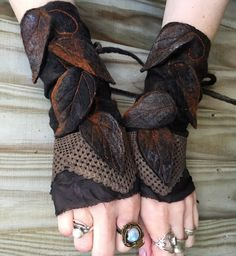 Faerie Cuffs-woodland cuffs forest gloves Cuffs by folkowl