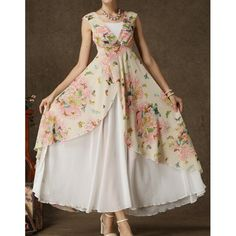 $26.58 Stylish Square Neck Butterfly Floral Print Sleeveless Women's Maxi Dress