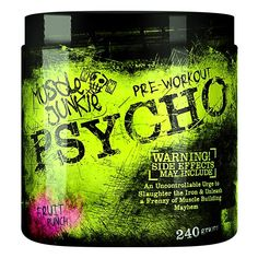Muscle Junkie Psycho Pre Workout 240g Dose + DMAA / US EDITION. Bringt mit superstarker Formel einen Energieüberschuss, steigert Wachsamkeit und Ausdauer. Pre Workout Booster, Fruit Punch, Muscle, Fitness, Low Fiber Foods, Fatty Acid Metabolism, Alcoholic Fruit Punch, Muscles