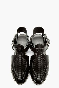 PROENZA SCHOULER Black Leather Woven Sandals