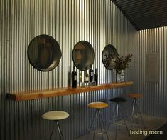 Corrugated Metal for Interior Walls .Changing double closet into bar area. Metal Wall Panel, Metal Walls, Corrugated Wall, Interior Walls, Interior Design, Interior Decorating, Design Garage, Metal Siding, Wall Bar