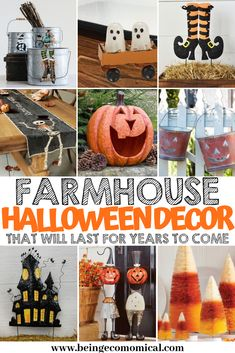 The cutest farmhouse Halloween decorations for around your home, you'll ever see to last you for years to come! Farmhouse Halloween, Halloween Porch, Diy Halloween Decorations, Holidays Halloween, Halloween Crafts, Halloween Ideas, Halloween Signs, Halloween 2019, Vintage Halloween