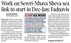 Good News for Navi Mumbai Shri Devendra Fadnavis (Chief Minister of Maharashtra) announced that the work on Sewri-Nhava Sheva sea link to start in December-January For more information http://toi.in/FR_UUY39/a20ai #navimumbai #sewrinhavasheva #sealink #realestate #residential #homes