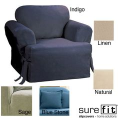 Sure Fit Cotton Classic T-cushion Chair Slipcover - Overstock™ Shopping - Big Discounts on Sure Fit Chair Slipcovers