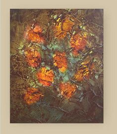 "Wreath of Roses - Original Abstract Flowers Painting - Palette Knife - Floral - still life painting -  canvas 10""x12"" on Etsy, $75.00"