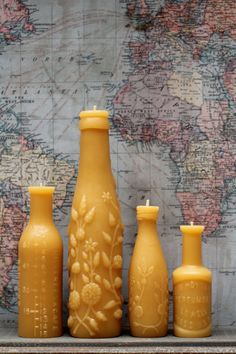 Candles that double as art. Yes, please. These are made from vintage bottles and beeswax.