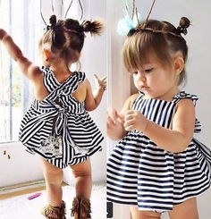 Baby Girls Backless Dress Bow With Cotton Briefs Set Clothing