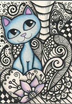 Aceo-Blue-Cat-In-Zentangle-Original-Art chats in 2019 кошки, Art And Illustration, Illustrations, Wal Art, Cat Doodle, Doodle Art Designs, Cat Coloring Page, Zentangle Drawings, Cat Crafts, Blue Cats
