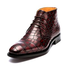 Alligator leather lace up chukka boots for Men. Alligator chukka boots can be a perfect choice for men who want to have easy to wear and protective pair of shoes to use. African Men Fashion, Mens Fashion, Men's Shoes, Dress Shoes, Shaquille O'neal, Leather And Lace, Panther Football, Combat Boots, Tiger Art