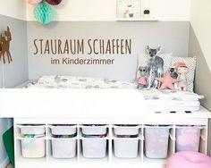 In Kinderzimmern Stauraum schaffen – das geht ganz einfach mit einem tollen IKEA… Creating storage space in children's rooms – that's easy with a great IKEA TROFAST hack! We show you how to do it! Diy Kids Room, Baby Room Diy, Diy For Kids, Kids Bedroom, Diy Baby, Ikea Kids, Ikea Children, Kids Storage, Storage Spaces