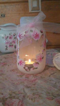 Hand painted roses heart vase Bridal tea light by jennspetalpalace Mason Jar Gifts, Mason Jar Diy, Jar Crafts, Diy And Crafts, Decoupage Jars, Flowers In Jars, Glass Bottle Crafts, Shabby Chic Crafts, Decorated Jars