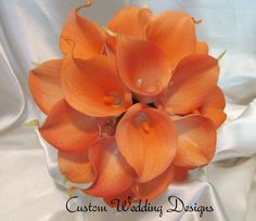 Real Touch Mango Custom Dyed Calla Lily Wedding Bouquet. Just in time for that fall wedding. by Customweddingdesigns on Etsy