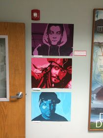 These grid paintings are the never ending project for eighth grade, but man they are killer.  I put some of these up at the district office ...