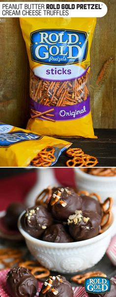 It's not a party without these easy Peanut Butter Pretzel Truffles! Extra creamy and delicious and loaded with peanut butter, chocolate chips, and pretzels! Candy Recipes, Holiday Recipes, Dessert Recipes, Dessert Ideas, Yummy Recipes, Just Desserts, Delicious Desserts, Yummy Food, Frito Lay