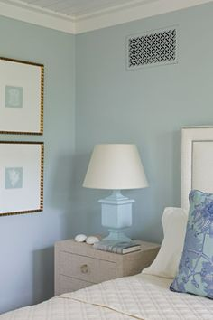 9 Soothing Ways to Decorate with Blue and White: This color combination is as versatile as they come—it flatters every room, no matter the size, style or budget. Blue Bedroom, Bedroom Wall, Bedroom Decor, Master Bedroom, Soothing Colors, Relaxing Colors, Calming, Beach House Decor, Blue Walls