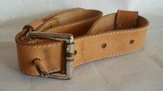 Vintage Danish genuine leather belt / 70s / Dranella by Soemme, $16.00