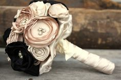 Champagne and Black bouquet Custom fabric flower by thepaisleymoon, $150.00