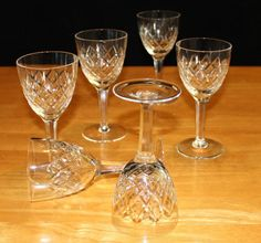 Vintage, Set of 6, Cross Cut, Crystal Wine Glasses, Hatched, Multi Sided Stem by cocoandcoffeevintage