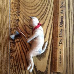 Antique-Vintage-Spun-Cotton-Victorian-Christmas-Ornament-Kitty-Cat-W-Toy
