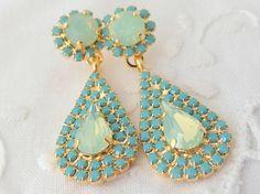 Mint opal and turquoise Chandelier earrings por EldorTinaJewelry, $82.00