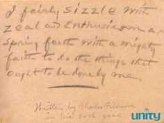 This affirmation was written by Charles Fillmore, cofounder of Unity, in his 90s. Image courtesy of the Unity Library & Archives.