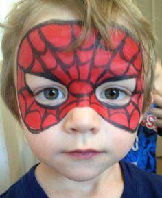 Spider Man mask - Face Painting by Jennifer VanDyke - Visit to grab an amazing super hero shirt now on sale! Superhero Face Painting, Face Painting For Boys, Face Painting Designs, Paint Designs, Body Painting, Simple Face Painting, Spider Man Face Paint, Mask Face Paint, Bodypainting