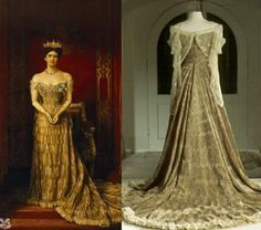 """n 1902 Lord Curzon organized the Delhi Durbar to celebrate the coronation of King Edward VII, """"the grandest pageant in history"""", which created a tremendous sensation. At the state ball Mary wore an extravagant coronation gown, by the House of Worth of Paris, known as the peacock dress, stitched of gold cloth, embroidered with peacock feathers with a blue/green beetle wing in each eye"""