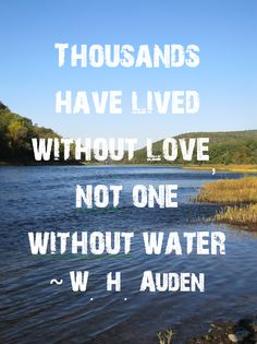 Thousands have lived without love not one without water - WH Auden