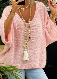 Womens Fashion Online, Latest Fashion For Women, Latest Fashion Trends, Casual Sweaters, Sweaters For Women, Knit Fashion, Women's Fashion, Fashion Over 50, Pink Sweater