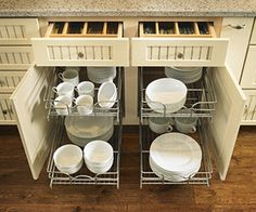 Cabinets with pullout wire drawers, Armstrong Elements collection