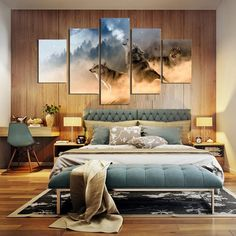 Unframed Three Wolves In The Mountains Roar 5 piece Modern Wall Painting Art Picture Paint on Canvas home decor for living room. Category: Home & Garden. Subcategory: Home Decor. Canvas Home, Canvas Wall Art, Wall Art Prints, Canvas Canvas, Canvas Prints, Living Room Decor Pictures, Grey Bedroom Decor, Master Bedroom, Boudoir