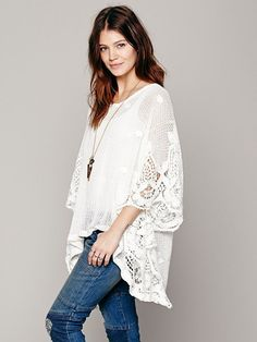 Free People Lizzie Mesh Floral Pullover