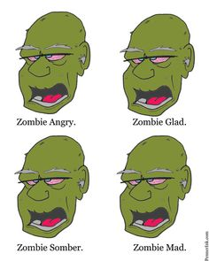 Zombie facial expressions