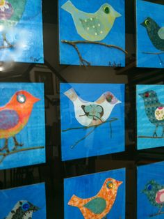 Decoupage Birds- Decoupage tissue paper and patterned paper onto bristol board. Once it dries, cut it into the shapes of a bird's body and wings. Glue to square panel. Finish by gluing dry twig under bird's body and adding buttons, sequins and puffy paint embellishments.