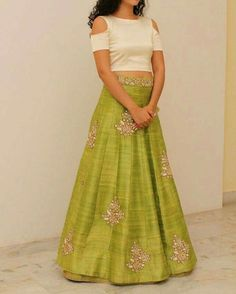 Beige crop top with green embroidered lehenga. Delivery will require approximately 4 weeks as the product is customised. Once your order is Indian Attire, Indian Wear, Ethnic Fashion, Indian Fashion, Indian Dresses, Indian Outfits, Saris, Costumes Anarkali, Salwar Kameez