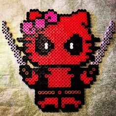 Deadpool Hello Kitty perler beads by tianeonflareon