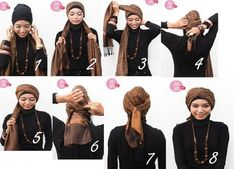 Turban tutorial: 1)Siapkan 1 inner hijab dan 1 pashmina. Kenakan inner hijab 2)Kenakan pashmina, silangkan kedua ujungnya sama panjang lalu tarik ke depan 3)Ambil sisi kiri ujung pashmina lalu lingkarkan ke kepala ke arah kanan 4)Tarik hingga ke belakang, lalu ikatkan dengan sisa ujung pashmina sebelah kanan 5)Ambil ujung sisa pashmina sebelah kanan. Lalu lakukan sama seperti yang pertama. Lingkarkan ujung kanannya ke arah kiri 6)Selipkan ke sela-sela ikatan 7)Rapikan hingga terikat kuat