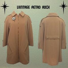 """True Vintage Imagnin Wool Camel Coat FEATURES:Lined, zipper pockets, wool, some thinning / MEASUREMENTS: Bust-43"""", Waist-44"""", Hips-46"""", Length-33 3/4"""" / please allow wiggle room sizing is approximate and not definite.  Broach not included Imagnin Jackets & Coats"""