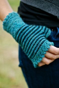 Stripey Mitts From Through The Loops