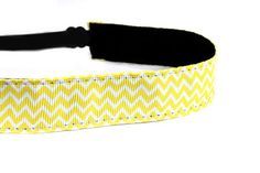 Skinny Yellow Chevron Adjustable Non-Slip Headbands www.mavibandz.com