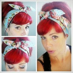Blue Floral and polka dots one sided WIDE Headwrap Bandana Hair Bow Tie 1950s Vintage Style - Rockabilly - Pin Up - For Women, Teens