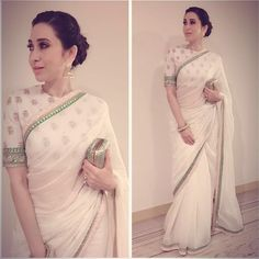 @therealkarismakapoor tonight #elegancepersonified in this cotton abla buti sari…