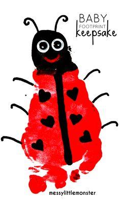 Summer Crafts For Toddlers, Valentine Crafts For Kids, Valentines Art, Baby Crafts, Baby Footprint Art, Footprint Crafts, Toddler Art, Toddler Crafts, Baby Ladybug