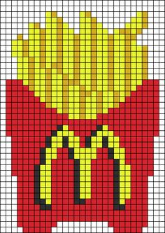 Fries McDonald's Perler Bead Pattern