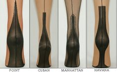 Different types of heels on fully-fashioned stockings!