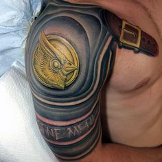 Leather Strap Armor Tattoo On Men