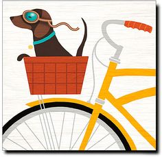 Beach Bums Dachshund Bicycle Gallery-Wrapped Canvas