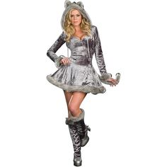 Ladies Big Bad Sexy Wolf Costume ($55) ❤ liked on Polyvore featuring costumes, halloween costumes, multicolor, wolf costume, womens halloween costumes, womens costumes, party halloween costumes and wolf tail costume